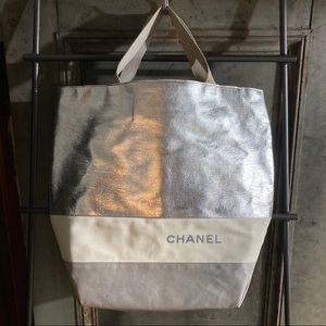 Chanel Sport Silver Grey Nylon Beach Tote Bag